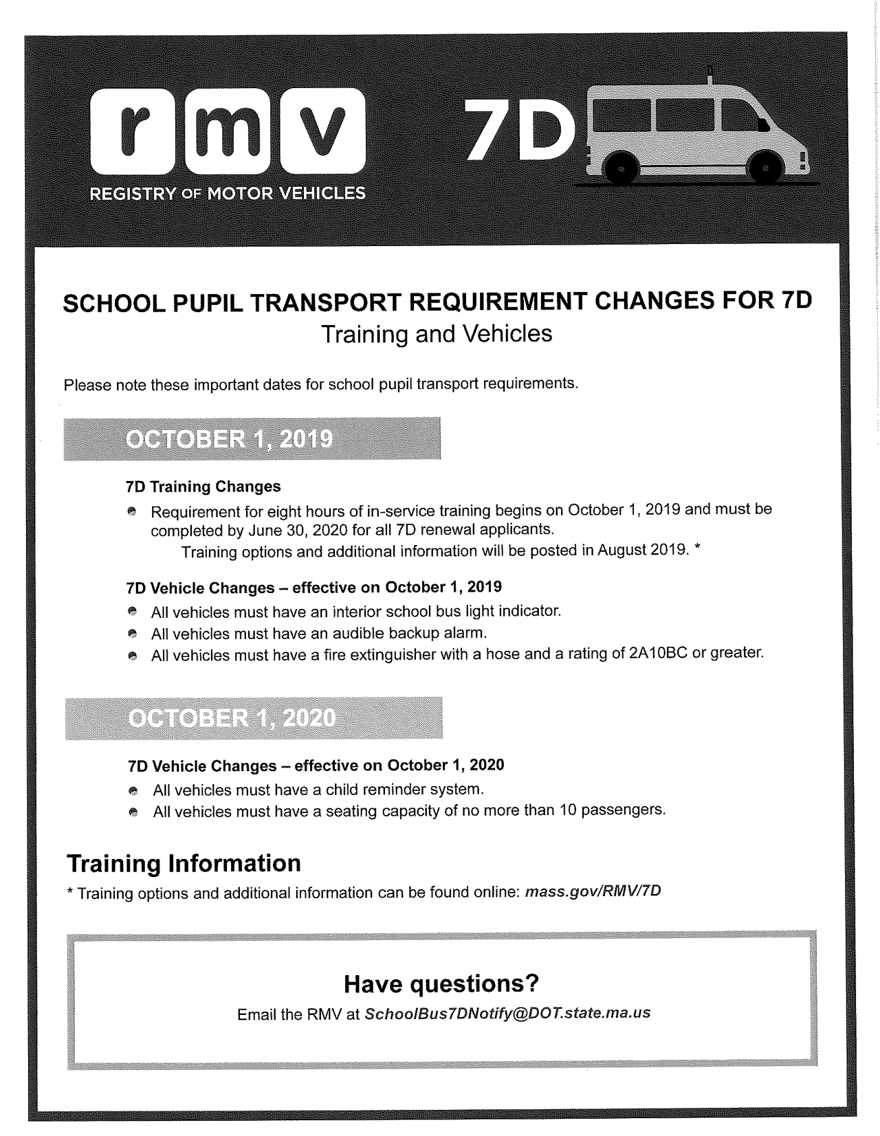 School Pupil Transport Requirement Changes for 7D - Training and Vehicles